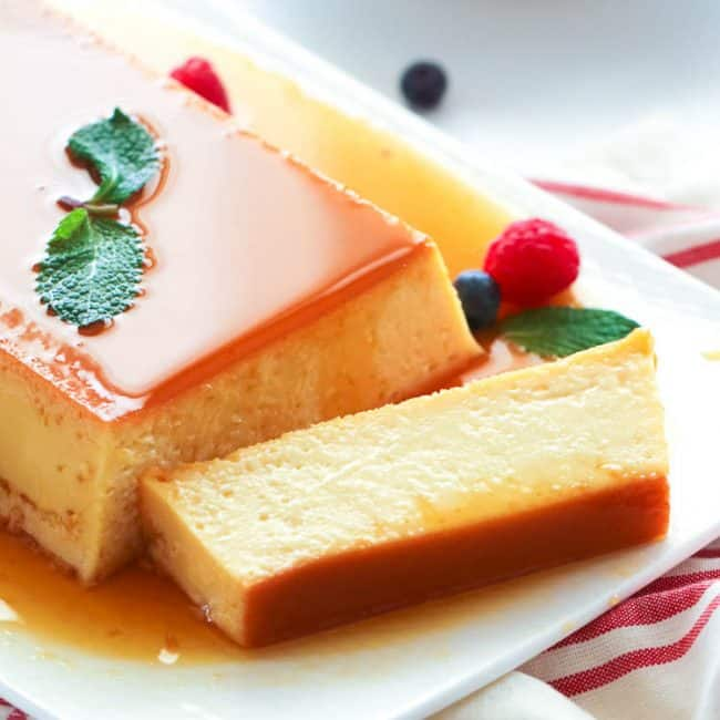 Sliced custard flan on a plate