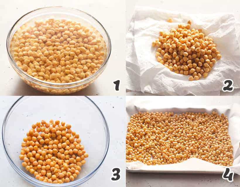 Rinsing and Drying the Chickpeas