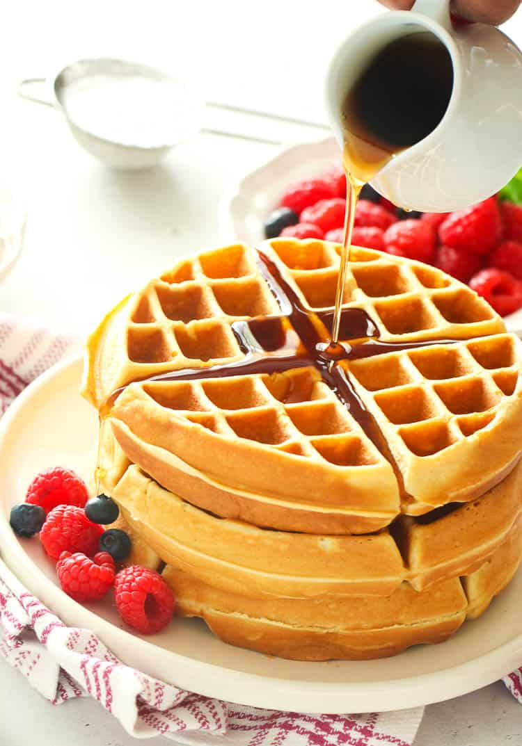 Homemade Waffles with syrup