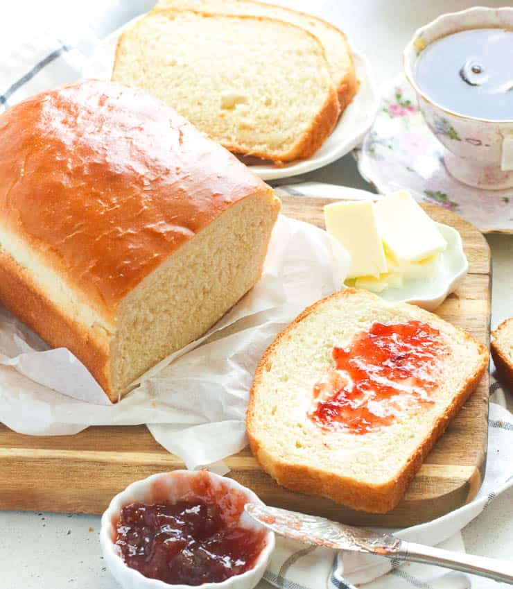 Bread slathered with jam