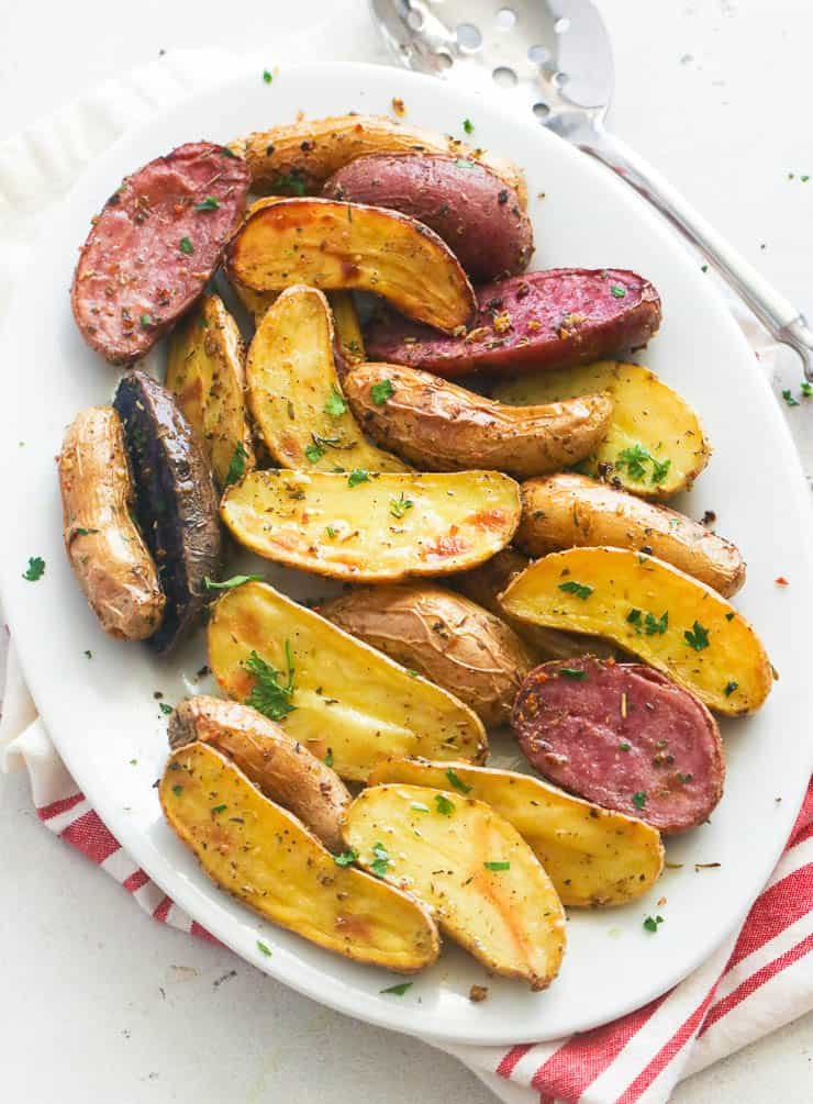 Roasted Fingerling Potatoes in a plate
