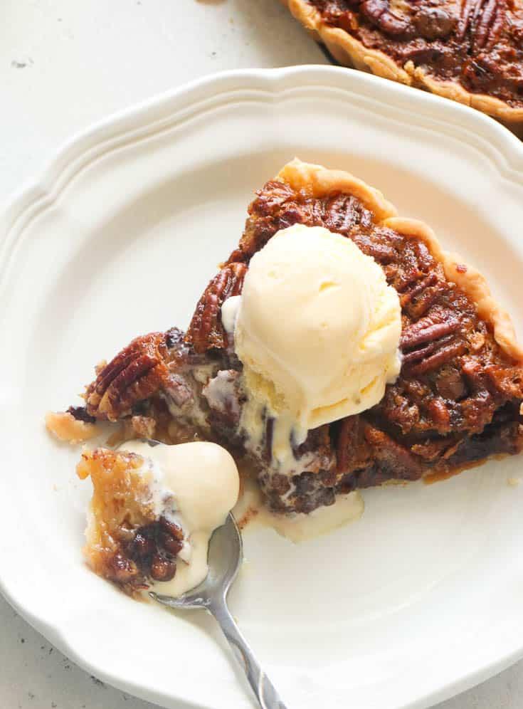 Pie topped with vanilla ice cream