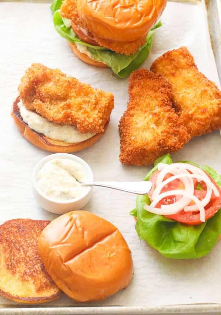 Assembling a fish sandwich