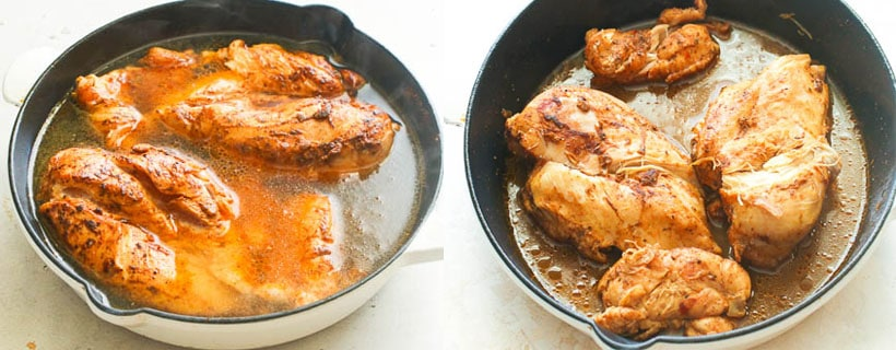 Seasoned Chicken simmered in a broth