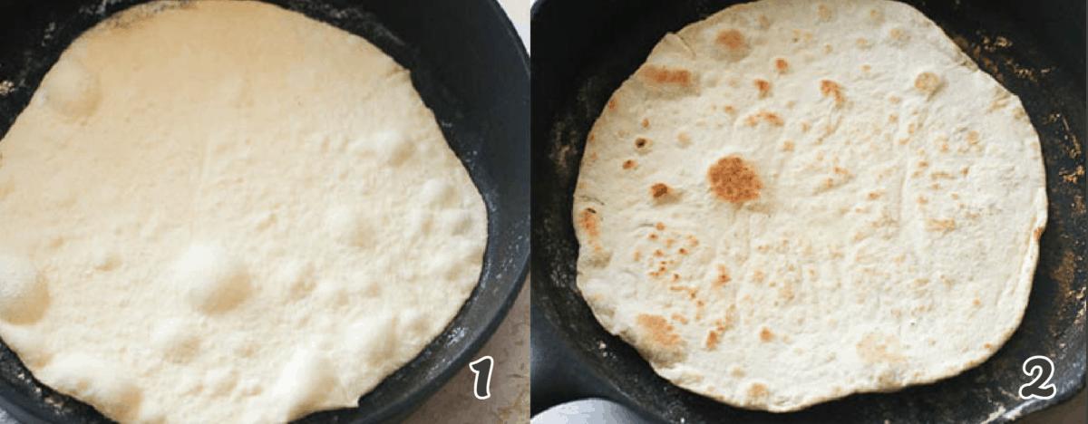 tortilla dough in a skillet