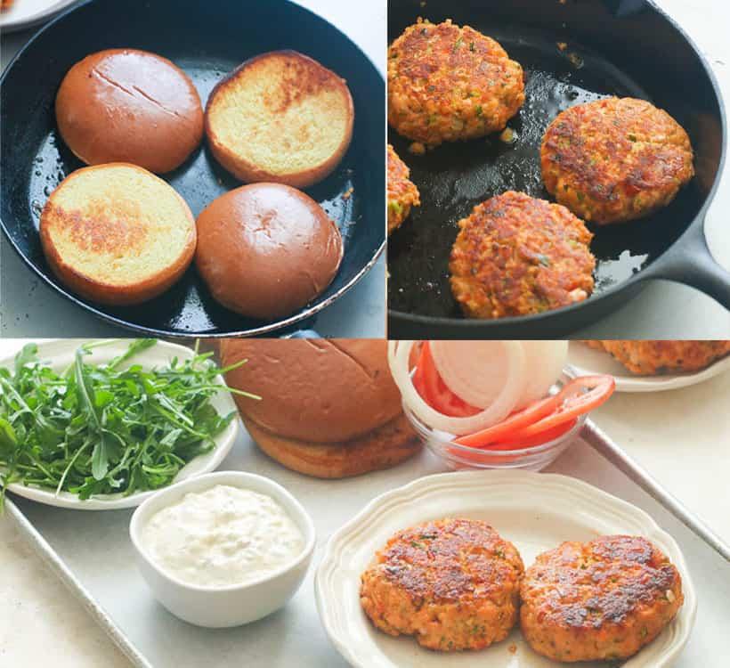 Assembling Salmon Burger