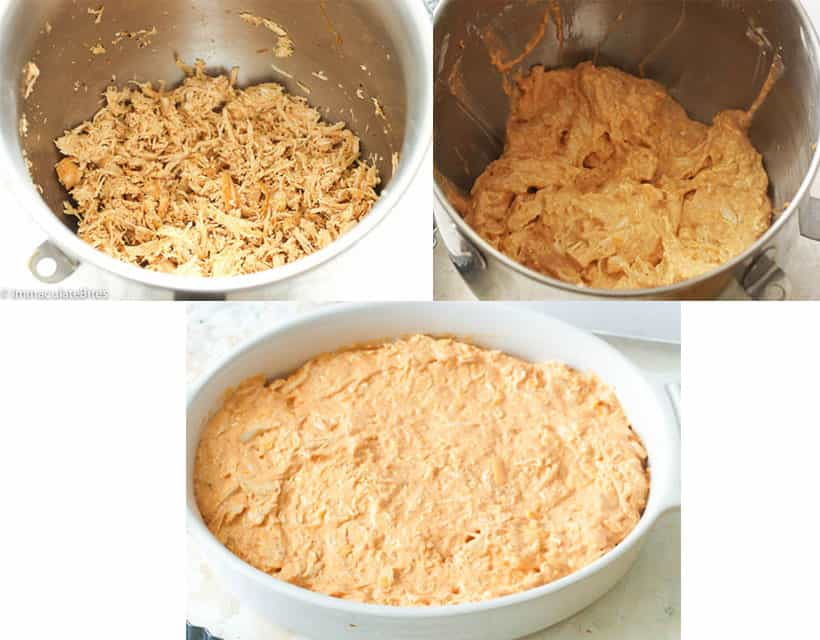 Cream Cheese Mixture and Shredded Chicken