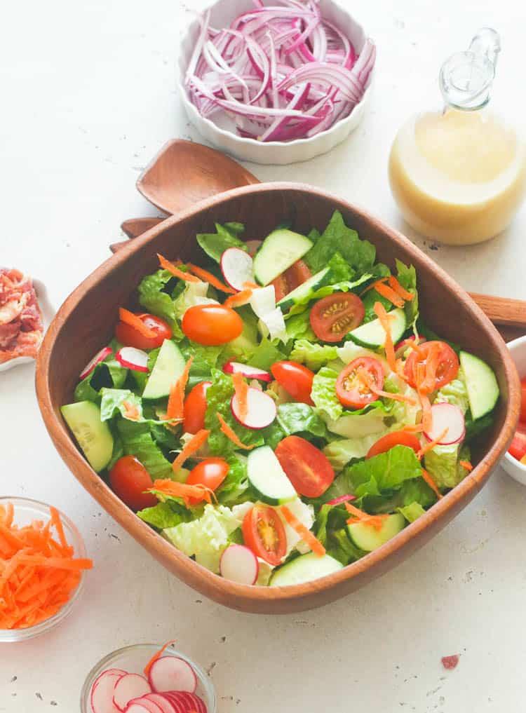 Toss Salad with Honey Mustard Dressing