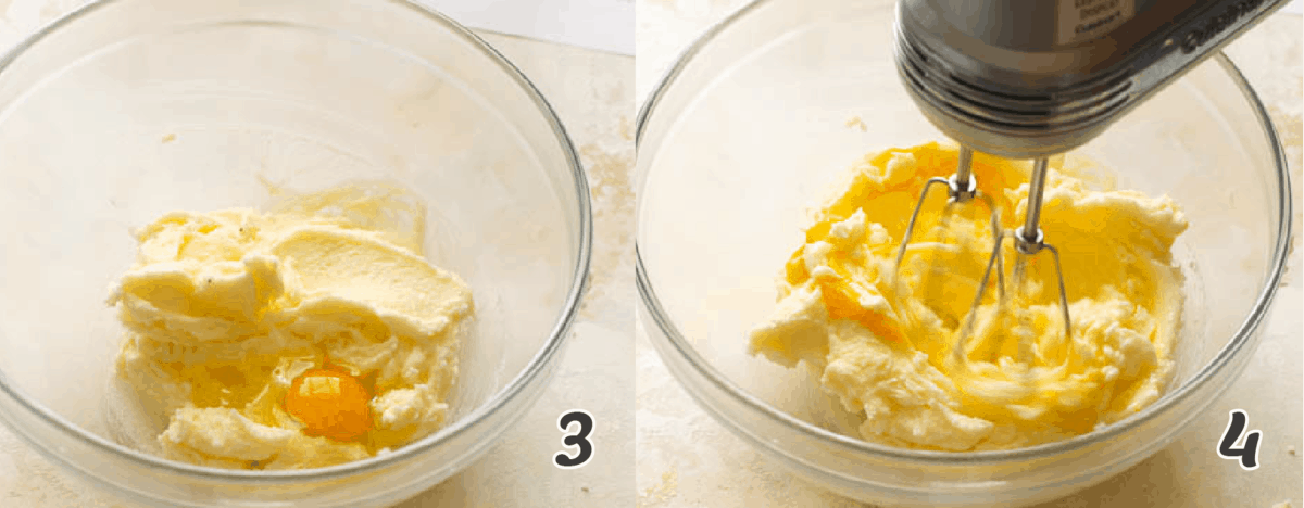 Adding the eggs to make the cake batter