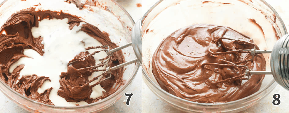 adding milk to the cake batter