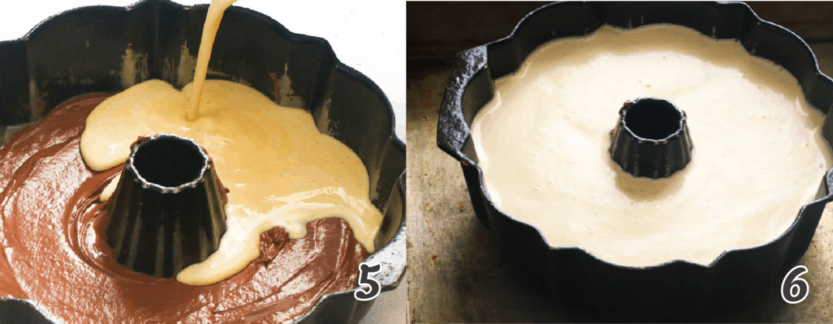 cooking the flan in a bundt pan