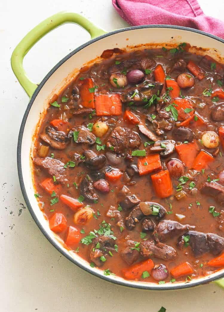 Beef Bourguignon in a pot