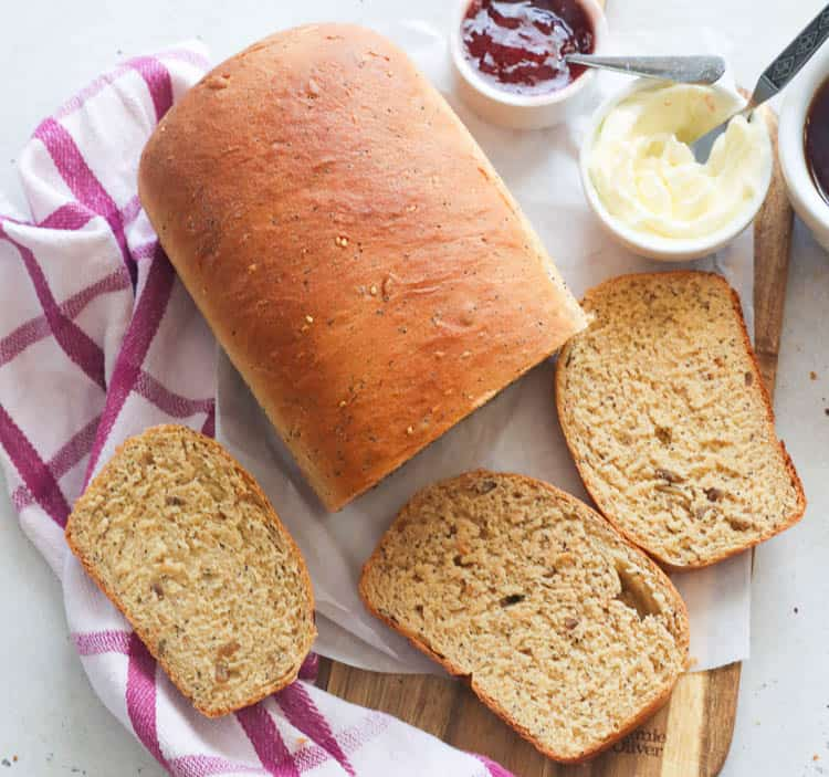 Whole Wheat Bread with Jam and Butter on the Side