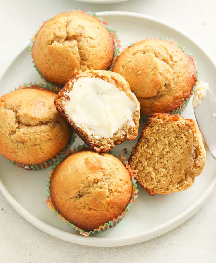 Banana Bread Muffins with butter