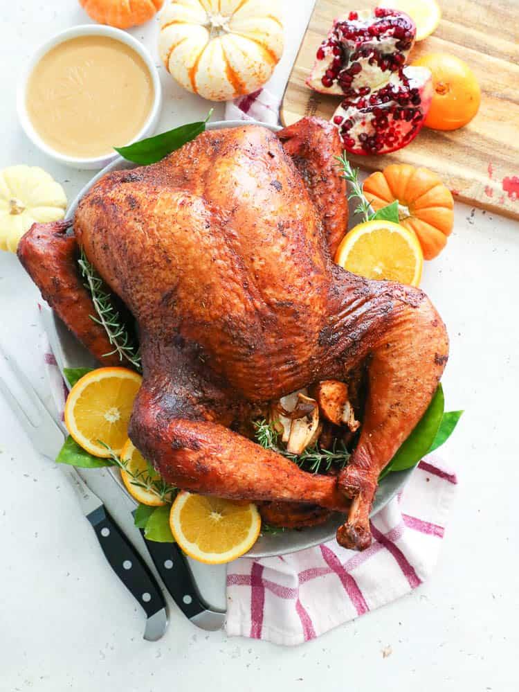 Smoked turkey on a plate