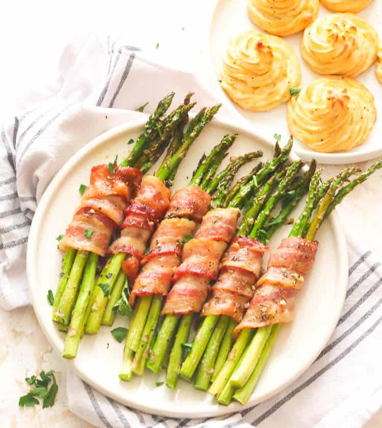 Bacon Wrapped Asparagus with Duchess Potatoes