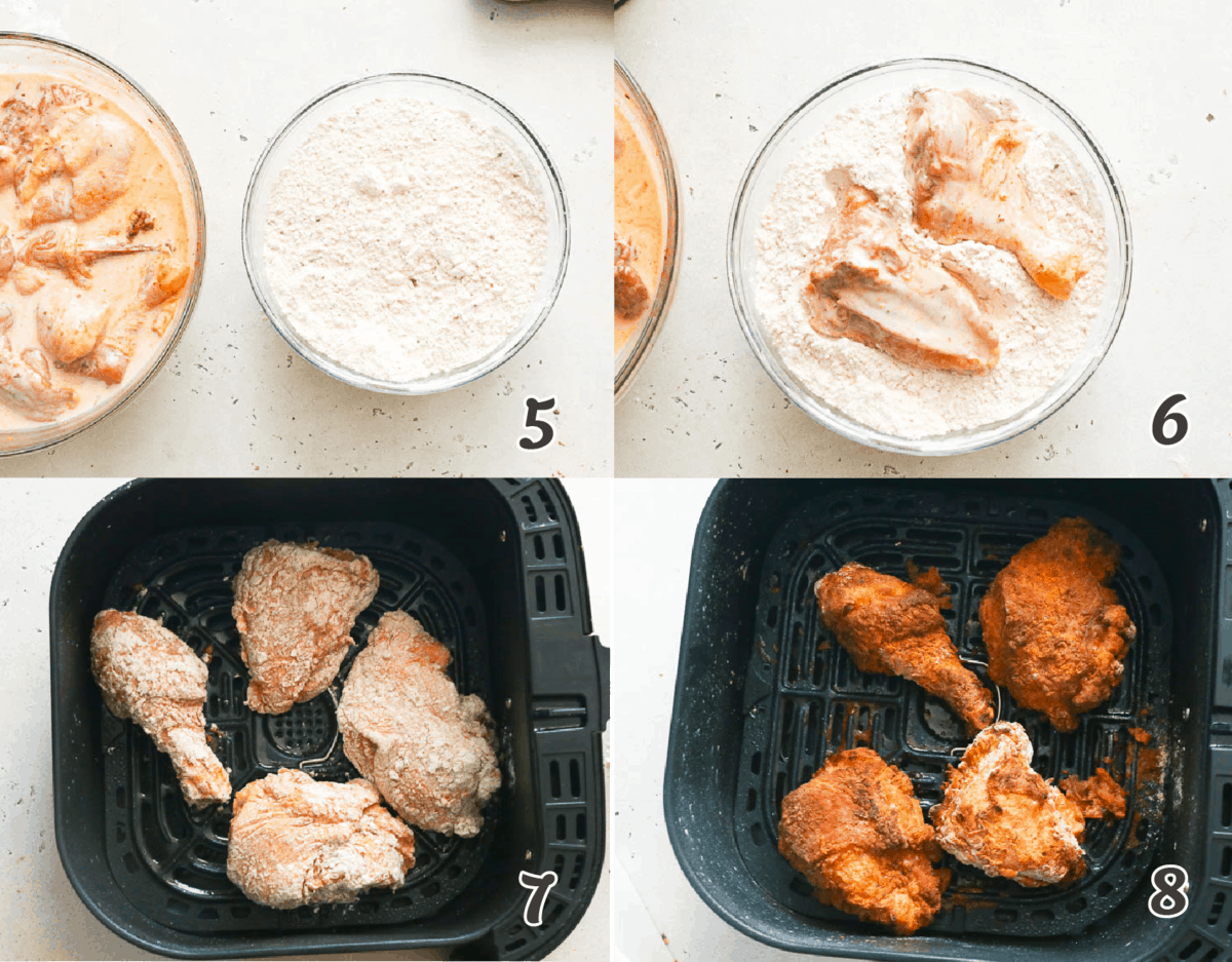Southern Fried Chicken in an air fryer step by step cooking process