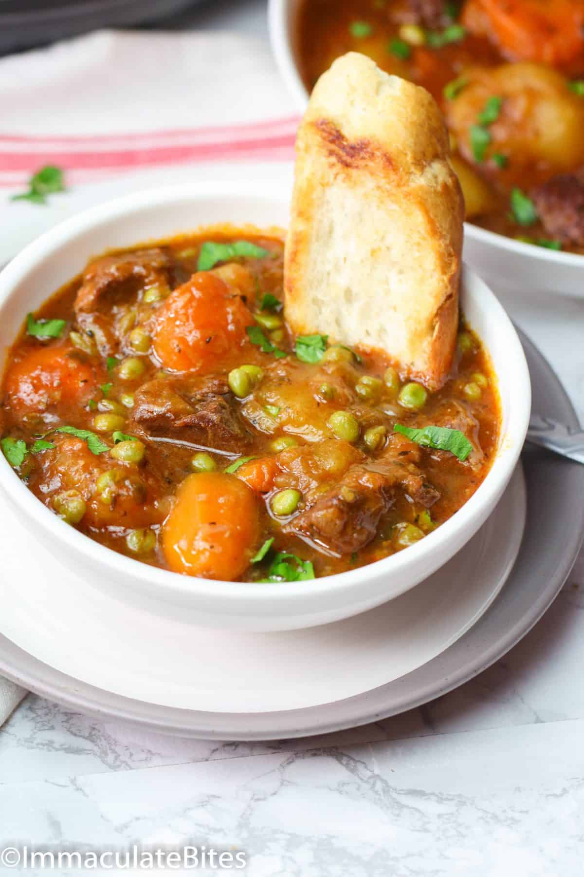 A Bowl of Instant Pot Beef Stew with Bread