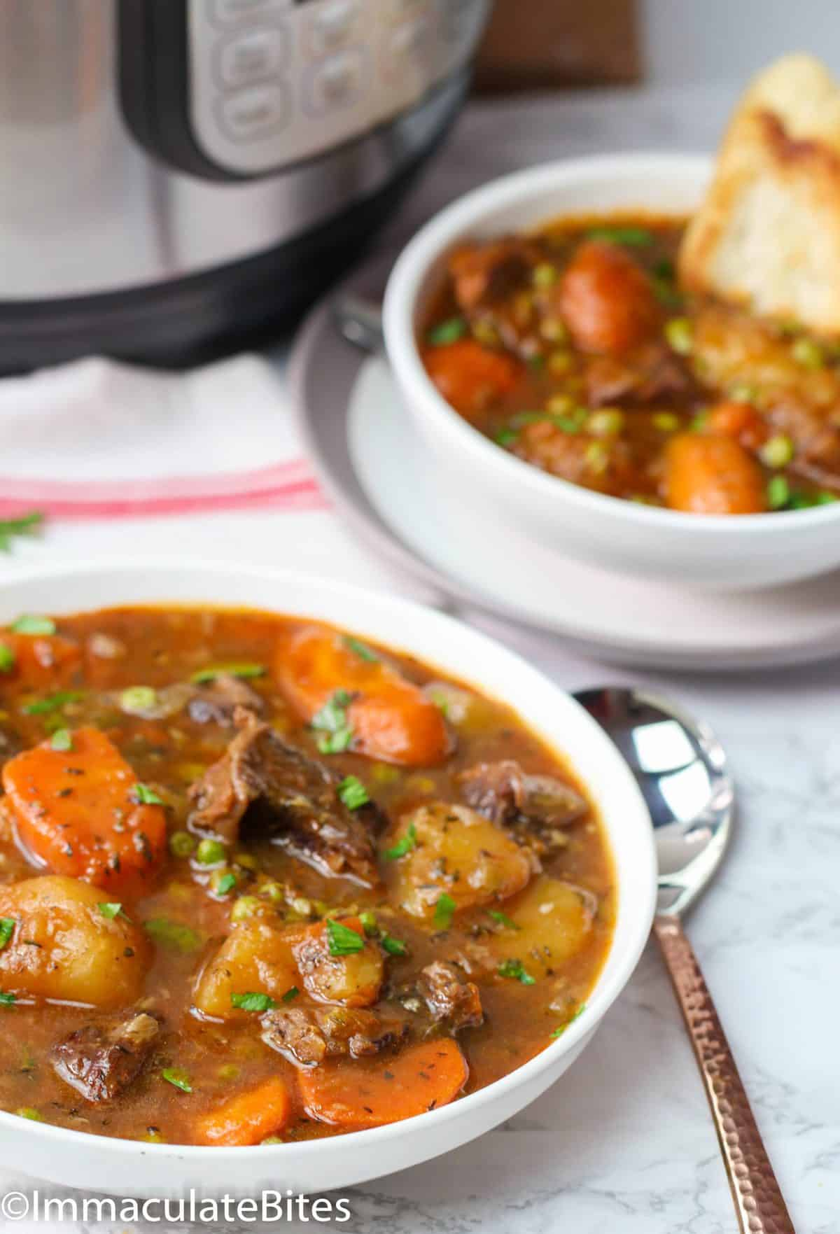 Instant Pot Beef Stew in plates