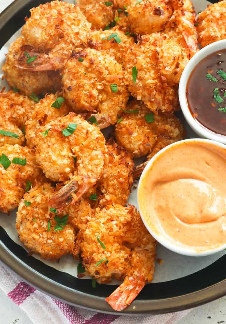 Air Fryer Coconut Shrimp in a plate