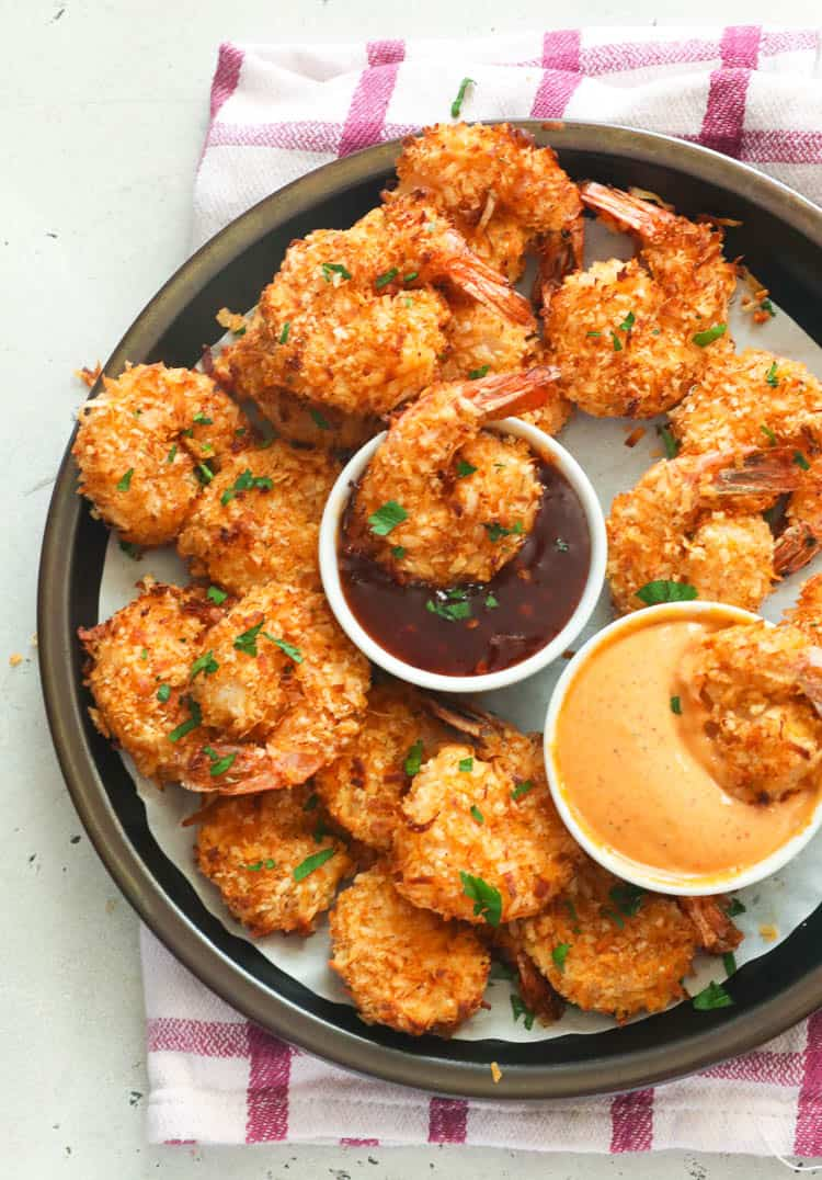 Air Fryer Coconut Shrimp with dips