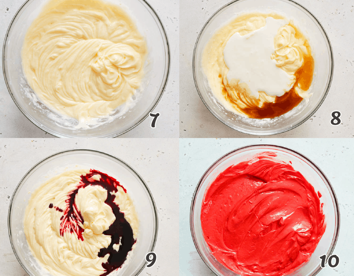 turning the cupcake batter red with food coloring