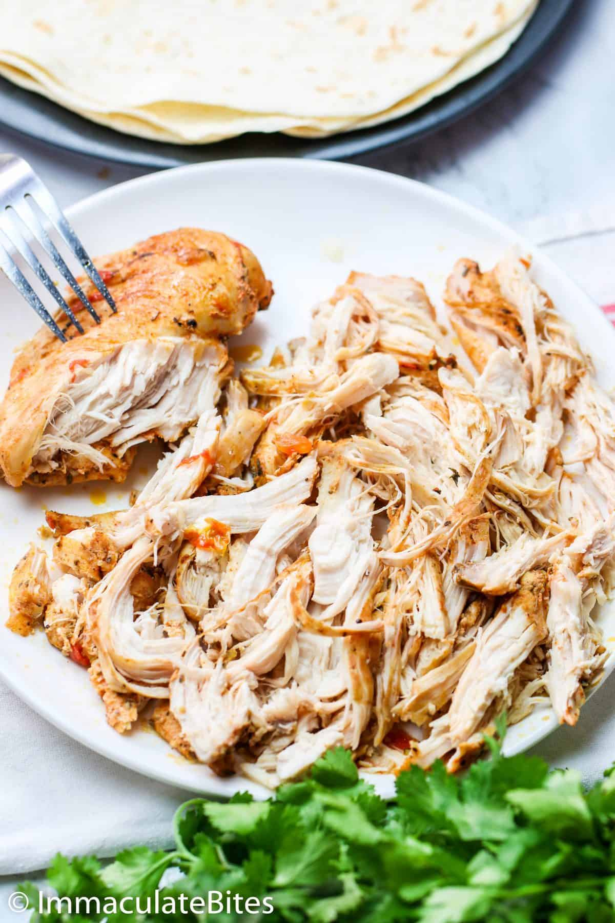 Shredded Chicken Using Fork