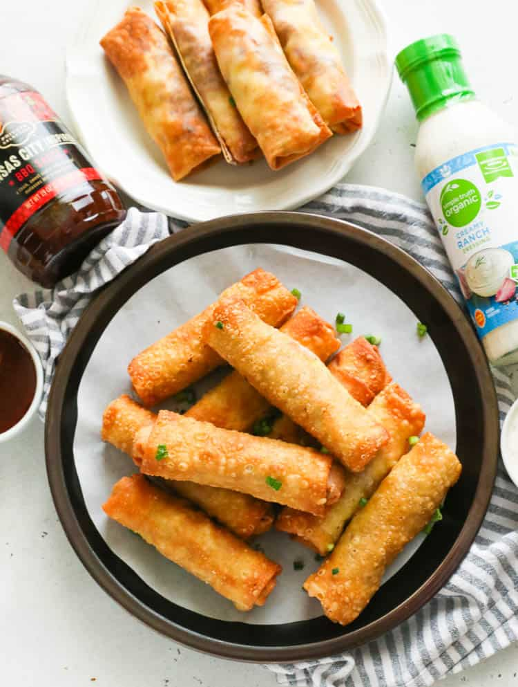 Deep-fried and Air-fried Pork Egg Rolls in Plates