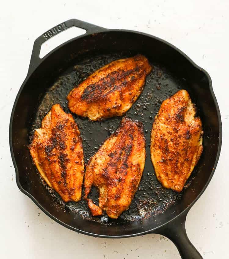 Blackened Catfish in Cast Iron Pan
