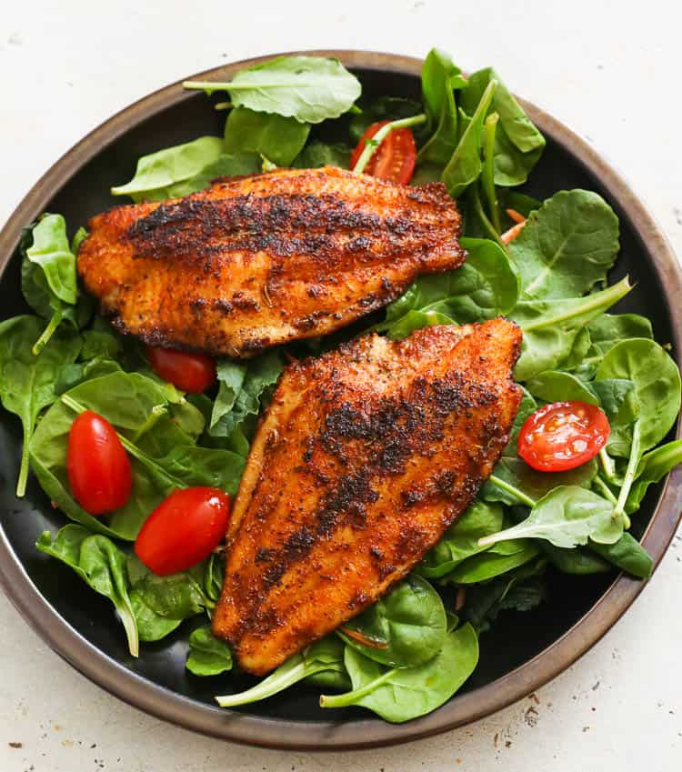 Green Salad topped with Blackened Catfish