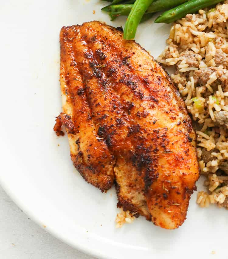 Blackened Catfish with Rice and Green Beans on the Side