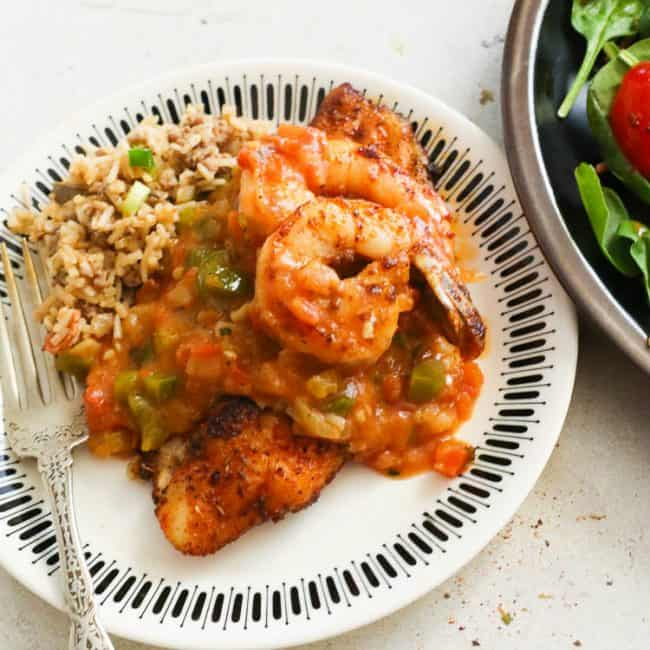 Blackened Catfish with Shrimp Sauce