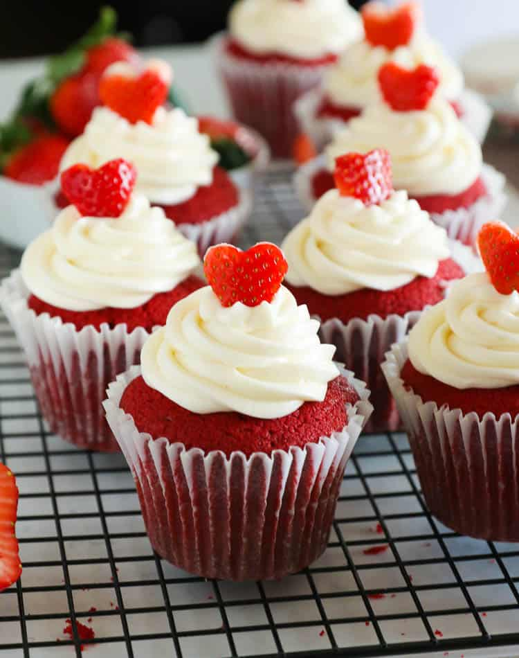 Red Velvet Cupcakes with toppings and full cup