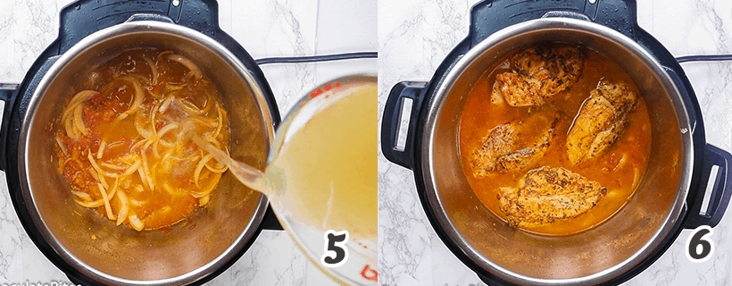 Pouring Broth on the Shredded Chicken