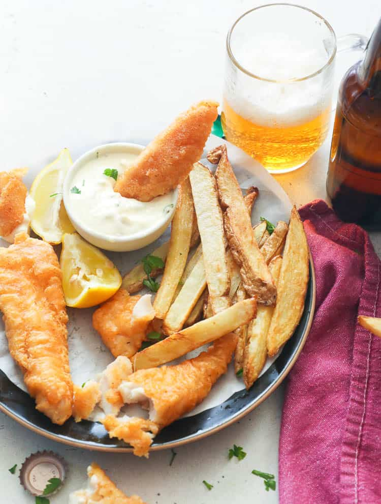 Dipped Fish with Chips and Beer on the Side