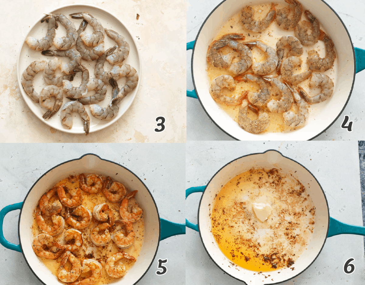 Preparing shrimps step by step