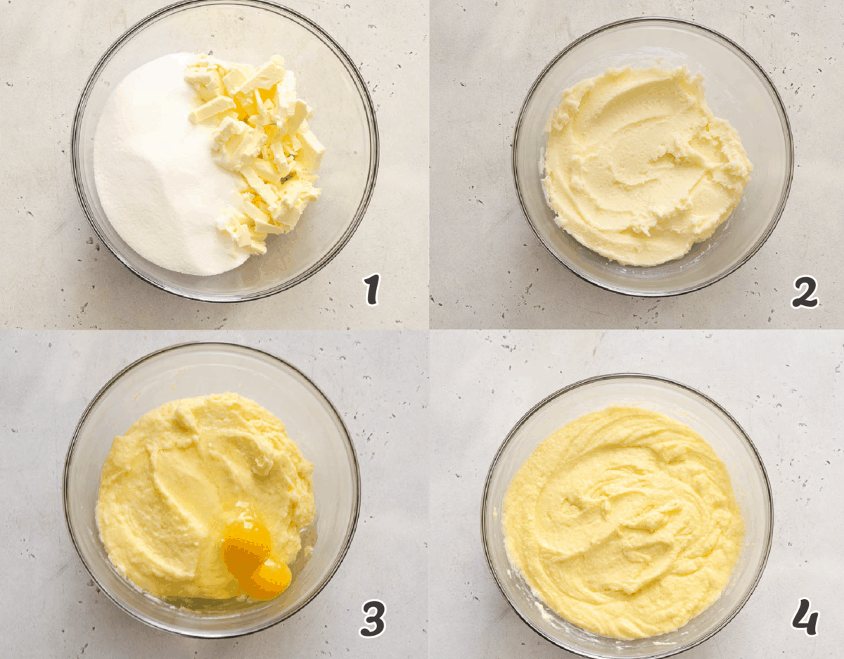 creaming the butter and adding eggs to the cake batter