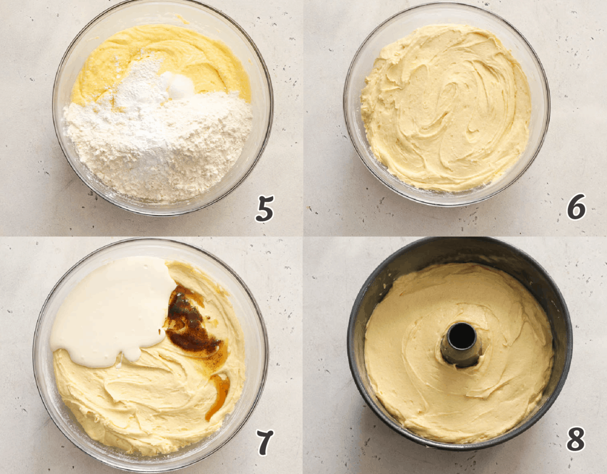 using a bundt pan to bake the cake batter