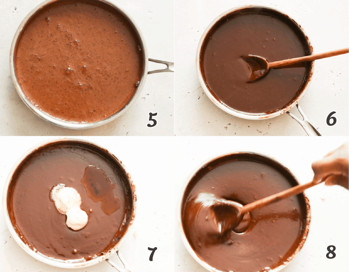 thick steps in making molten sauce for southern desserts