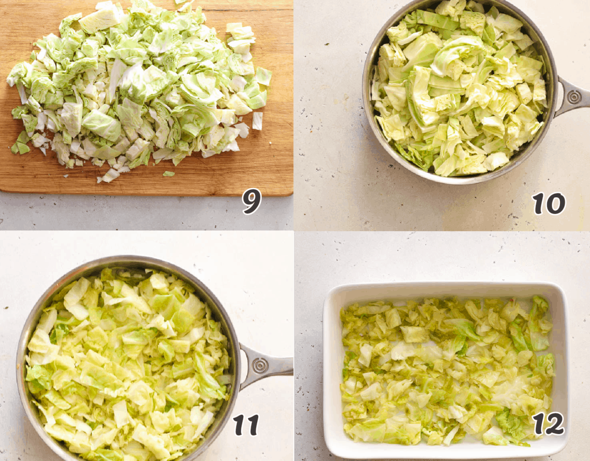 cooking the cabbage in a silver pan