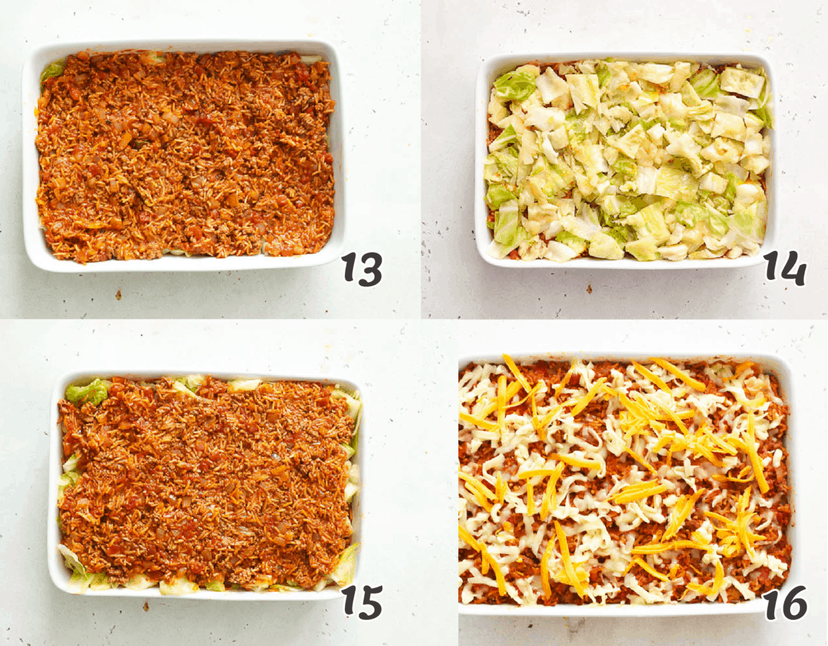 assembling the casserole with a cheesy topping