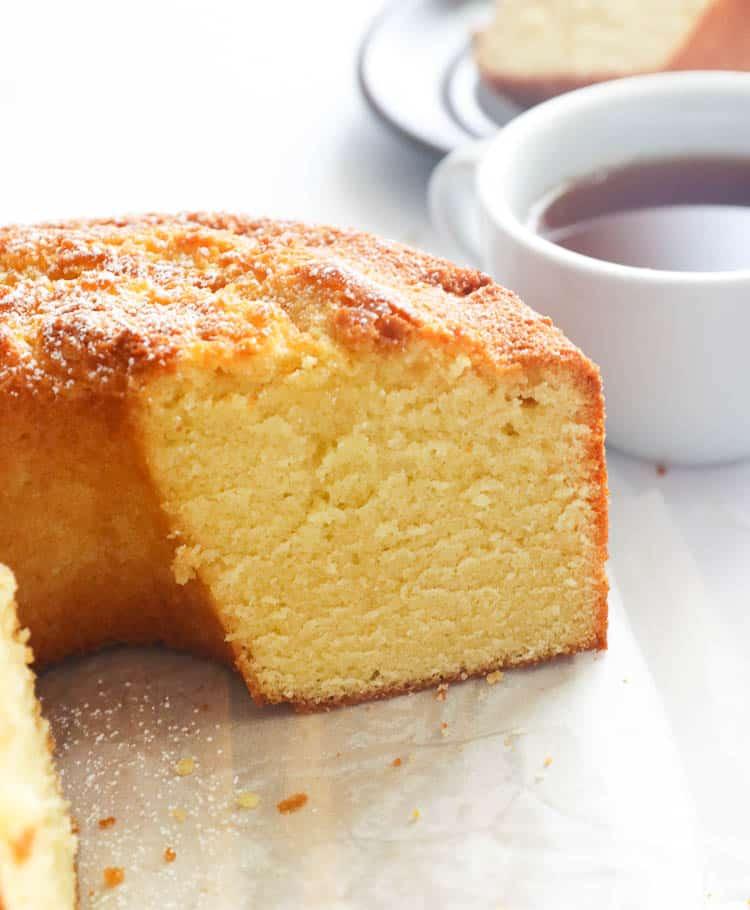 Sliced Pound Cake with Tea