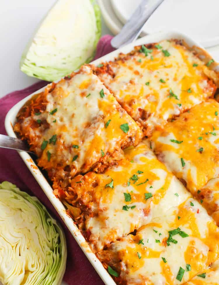 Cabbage Roll Casserole with cheesy topping