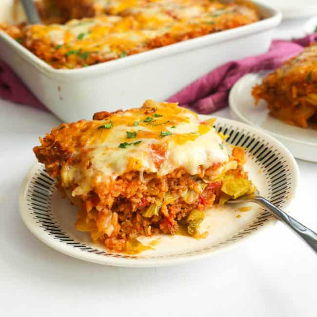 slice of cabbage roll casserole with a silver fork