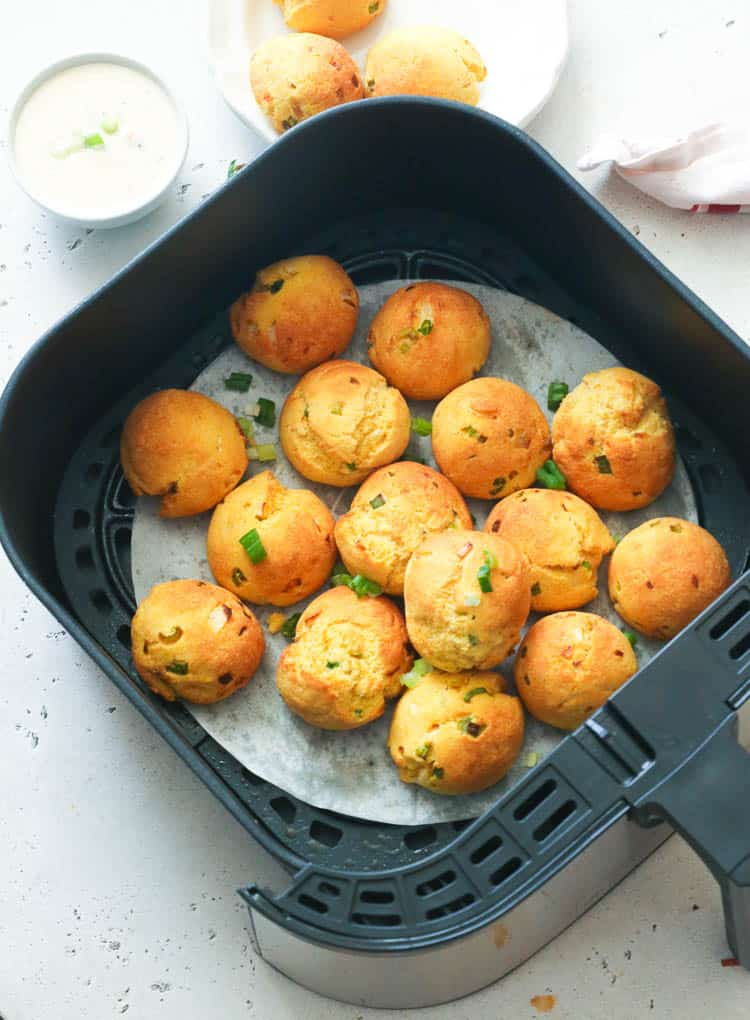 Hush Puppies in an Air Fryer Basket