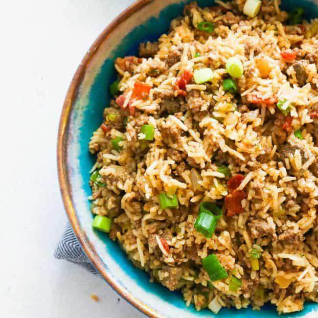 Close up Shot of Cajun Rice in a Blue Bowl
