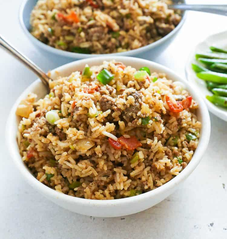 Cajun Rice in a White Bowl with Spoon