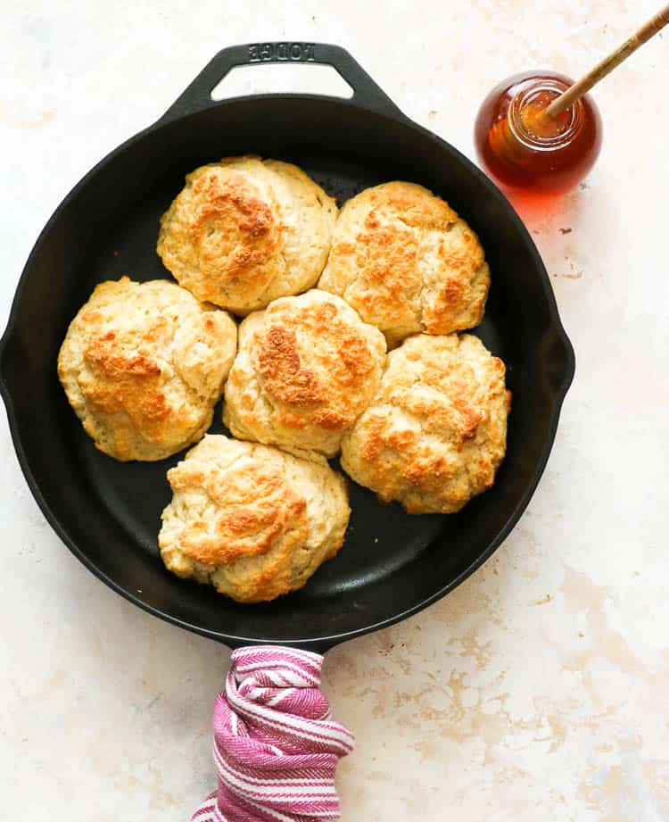 Cathead Biscuits in a skillet