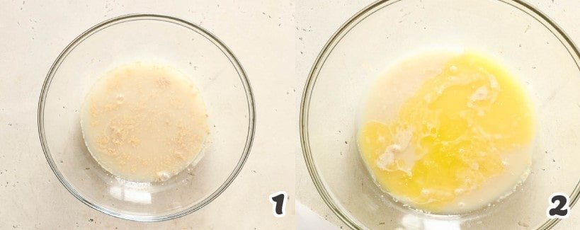 Mixing the yeast in water