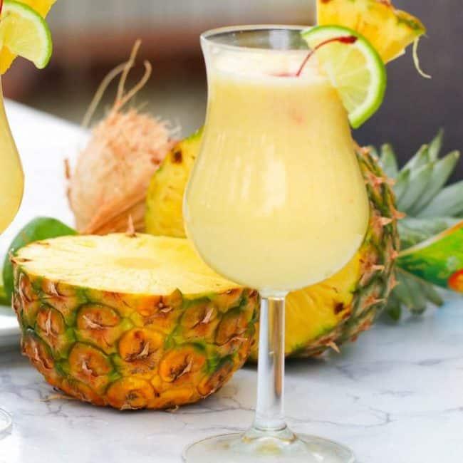 pina colada on a hurricane glass